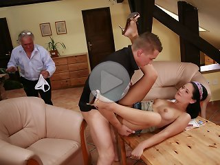 FLASH !!! Hung younger neighbor helps older husband satisfy his sexy wife on birthday